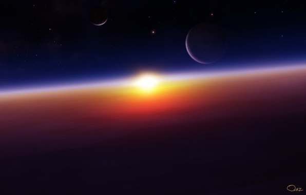 Picture space, planet, sunrise
