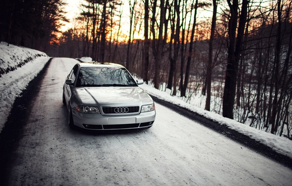 Picture forest, snow, sunset, Audi, Audi, stance, Doroga