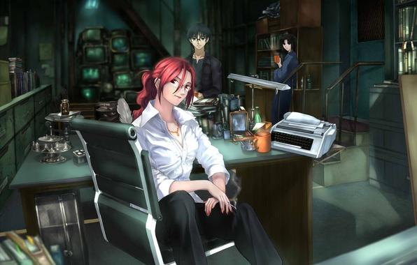 Picture girls, glasses, cigarette, guy, three, screens, Kara no Kyoukai, the garden of sinners, Ryougi Shiki, …