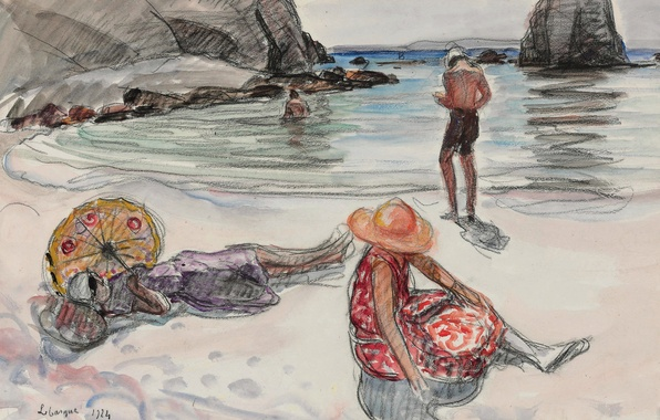 Picture sea, landscape, people, rocks, stay, shore, figure, picture, genre, Henri Lebacq, The Isle of Crozon, …