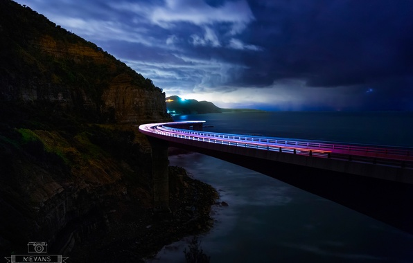 Picture clouds, bridge, lights, the ocean, rocks, excerpt, Australia, New South Wales, Sea Cliff Bridge, Illawarra