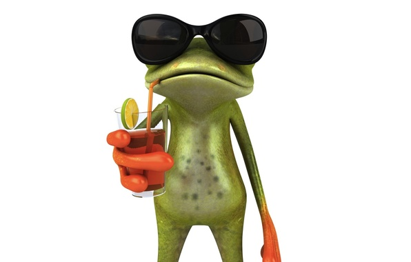 Picture graphics, cocktail, frog, juice, glasses, Free frog 3d