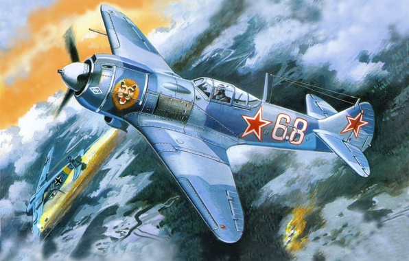 Picture the sky, fire, earth, smoke, figure, art, fighters, aircraft, German, dogfight, Soviet, La 5FN, WWII, …