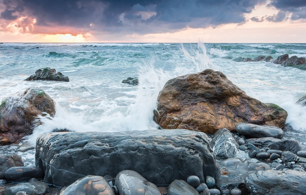 Picture sea, the sky, sunset, squirt, clouds, storm, nature, stones, the wind, shore