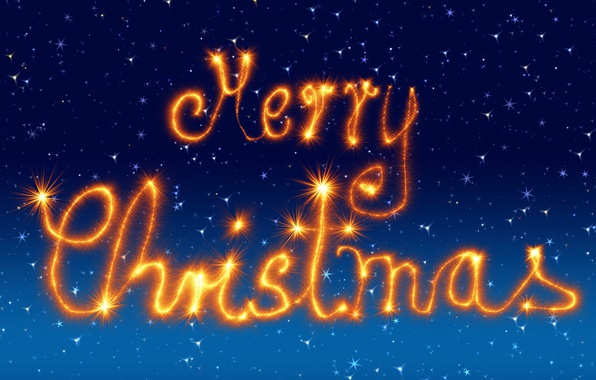 Picture winter, the sky, orange, blue, lights, style, lights, letters, background, holiday, blue, graphics, Shine, new ...