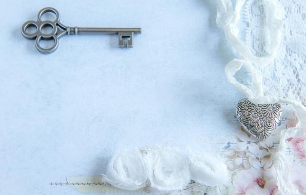 Picture heart, key, lace, vintage
