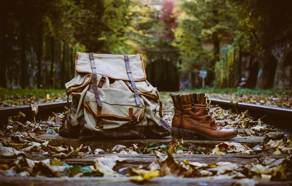 Picture leaves, rails, boots, backpack, sleepers