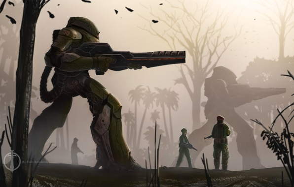 Picture weapons, robots, art, soldiers, fur