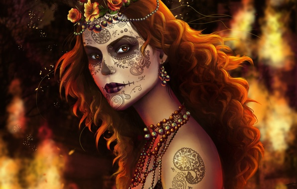 Picture look, girl, decoration, face, tattoo, art, beads, red hair, paint, Dead