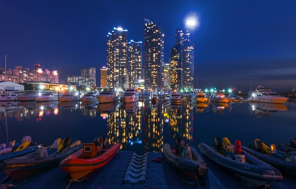 Picture water, the city, reflection, Marina, yachts, skyscrapers, boats, blur, pier, lighting, boats, night, beautiful, skyscrapers, …