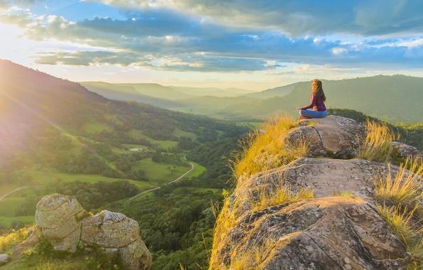Picture the sky, the sun, clouds, rock, sunrise, woman, valley, meditation, yoga, rock, Brazil, Urubici, Santa …