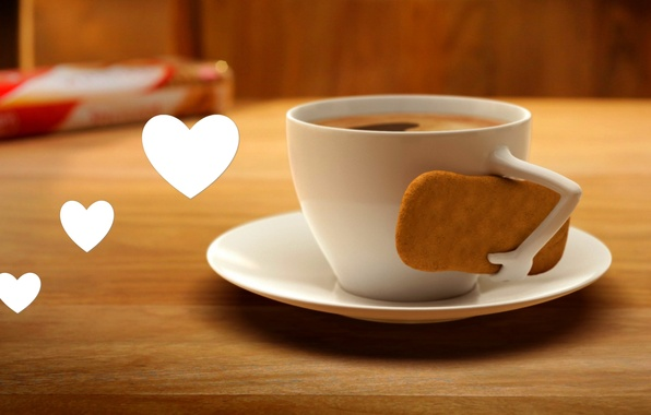 Wallpaper cup, Cup, heart, cookies, coffee, love, coffee ...