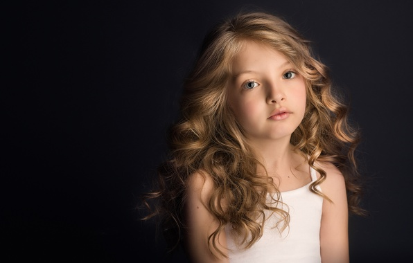 Picture look, portrait, girl, black background, curls