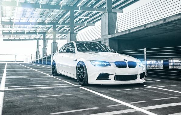 Picture glare, BMW, Parking, white, Coupe, front, E92
