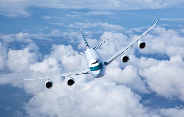 Picture The sky, Clouds, Flight, Cargo, In The Air, Flies, Cathay Pacific, Boeing 747