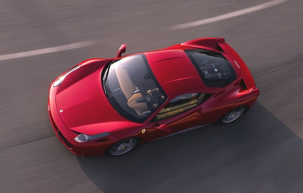 Picture Red, Road, Machine, Asphalt, The hood, Ferrari, 458, The view from the top, Italia, Sports …