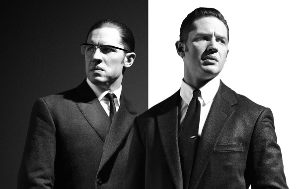 Picture black and white, brothers, poster, Legend, crime, Gemini, Legend, Tom Hardy, Tom Hardy, Reggie Kray, …