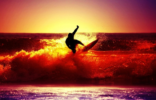 Picture sea, wave, the sky, the sun, sunset, squirt, river, background, Wallpaper, mood, sport, people, silhouette, ...