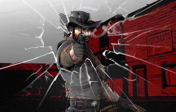 Picture gun, weapons, man, revolver, Red Dead Redemption, the cowboy