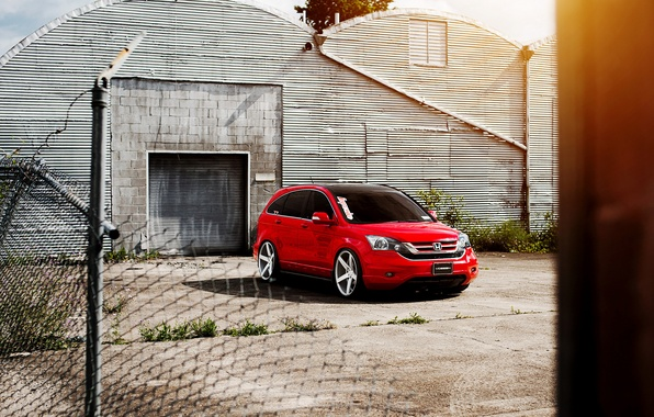 Picture the sky, clouds, tuning, red, honda, red, Honda, tuning, vossen, cr-v