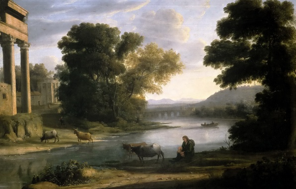 Picture animals, river, picture, Claude Lorrain, Landscape with a Shepherd