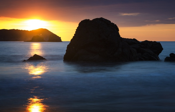 Photo Wallpaper Beach Rocks Dawn Costa Rica Manuel Antonio