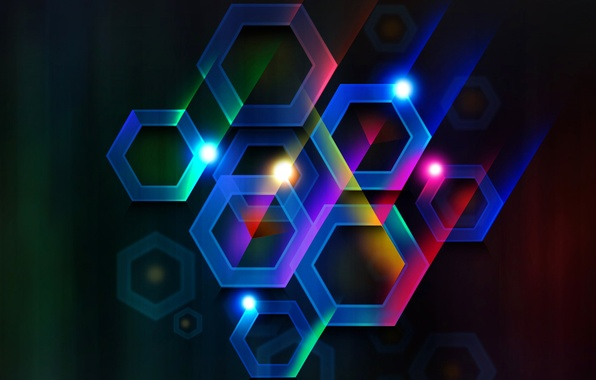 Picture rays, light, line, color, hexagon, the volume, cell
