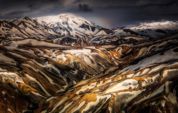 Picture snow, mountains, hills, Iceland