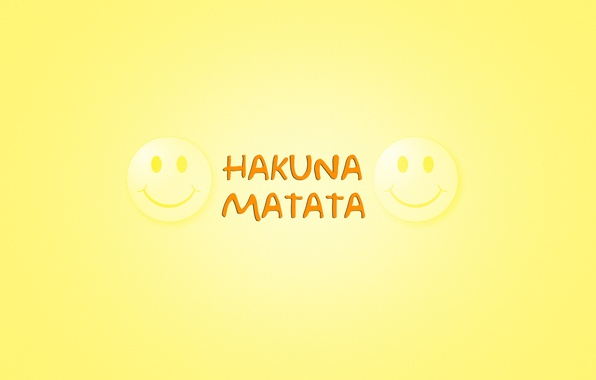 Picture minimalism, words, yellow background, smile, The Lion King, emoticons, The Lion King, Timon & Pumbaa, …