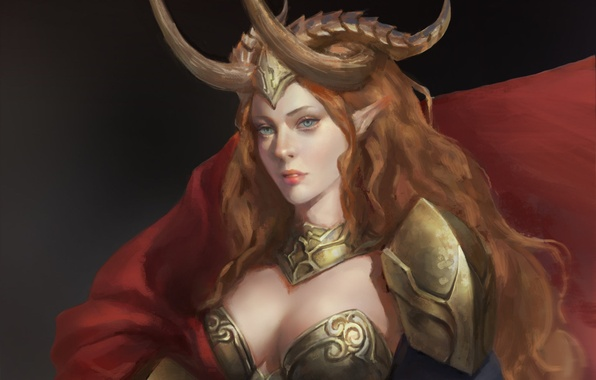 Picture look, girl, armor, art, horns, armor, red hair