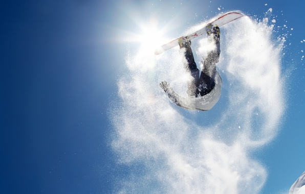 Picture the sun, snow, mountains, jump, snowboard