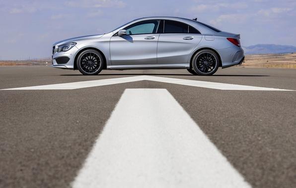 Picture Mercedes-Benz, Grey, Asphalt, Sedan, Car, Side view, Class, CLA
