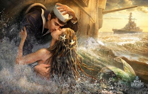 Picture sea, mermaid, kiss, ships, fantasy, sailor, World Of Warship