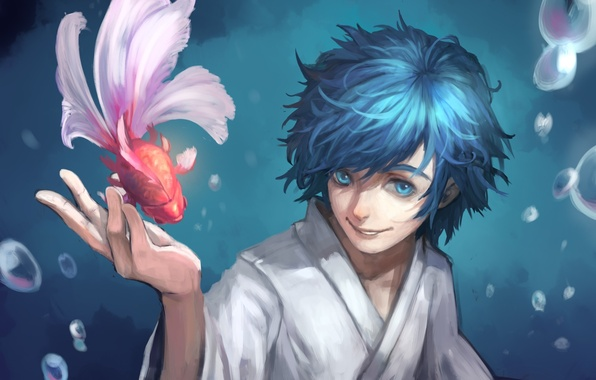 Picture smile, bubbles, fish, art, guy, kimono, vocaloid, Vocaloid, kaito, water