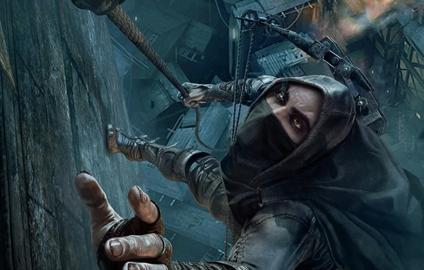 Picture the city, weapons, wall, hand, home, roof, bow, rope, hood, fingers, GameWallpapers, nails, the cable, …
