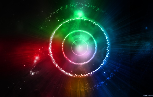 Picture circles, blue, red, green, the universe