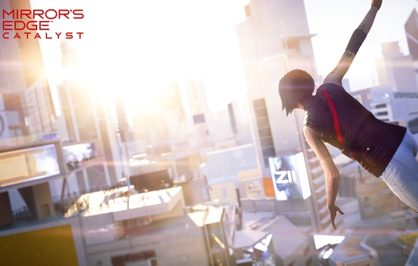 Picture girl, the sun, the city, the game, view, Mirror's Edge: Catalyst