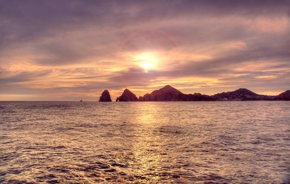 Picture sea, wave, the sun, rocks