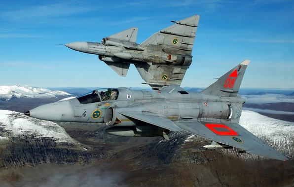 Picture the sky, snow, flight, mountains, the plane, fighter, pair, pilot