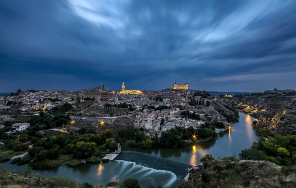 Picture the sky, clouds, night, lights, river, home, Spain, Toledo