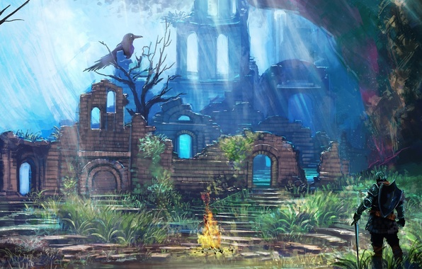 Picture art, ruins, knight, the fire, crow, dark souls, Dark souls, the fire temple