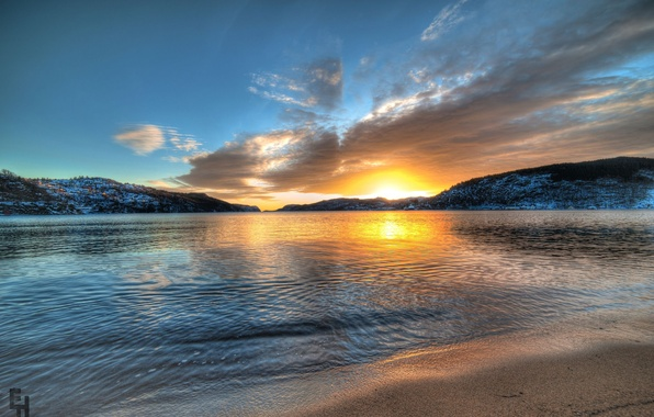 Picture sunset, mountains, lake, Norway, Norway