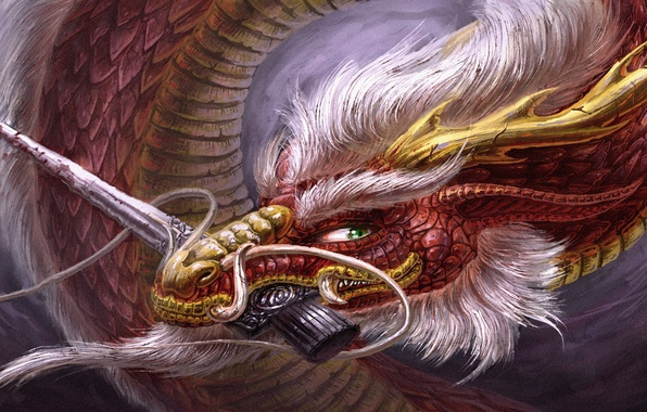 Picture look, weapons, blood, dragon, art, horns