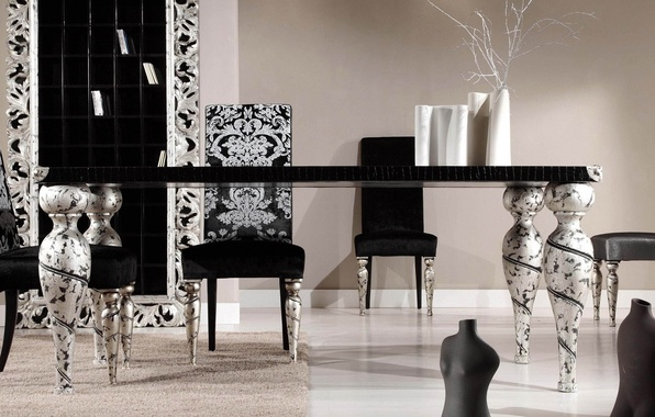 Picture white, design, style, table, room, black and white, black, chairs, interior, silver, kitchen