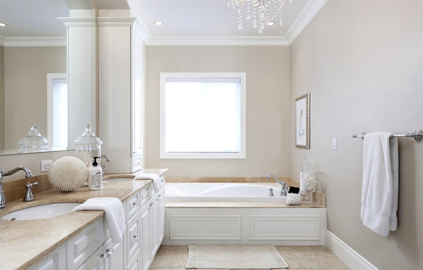 Picture room, towel, mirror, window, bath, wardrobe, bathroom