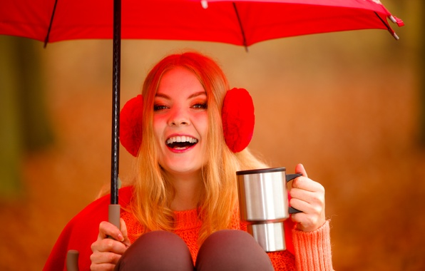 Photo wallpaper mug, background, blonde, umbrella, headphones, bokeh, mood, girl, sweater, in red, joy