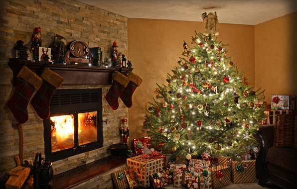Picture light, decoration, room, toys, tree, Christmas, gifts, New year, fireplace, Holiday, Christmas, lanterns, New Year