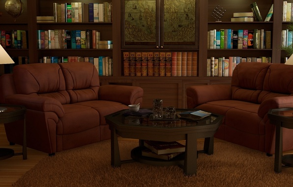 Picture rendering, lamp, room, carpet, books, map, interior, art, wardrobe, library, office, globe, sofas, shelves