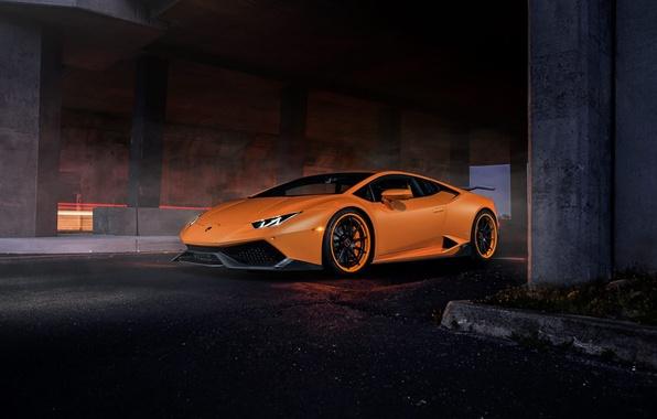 Picture Lamborghini, Dark, Orange, Front, Color, Tuning, Supercar, Huracan, LP610-4