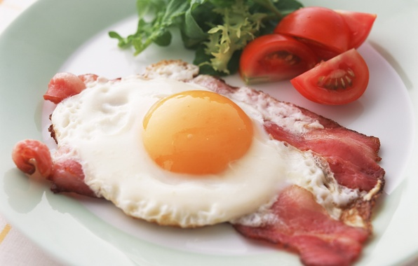 Picture greens, egg, plate, scrambled eggs, tomato, bacon, Breakfast